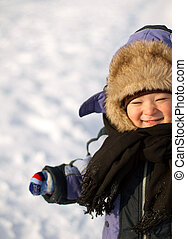 Little Boy Have Winter Fun - Little boy have fun in snow...