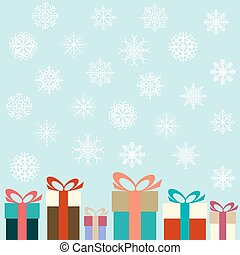 Flat colorful gifts and snowflakes