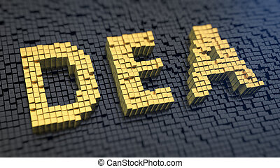DEA cubics - Acronym 'DEA' of the yellow square pixels on a...