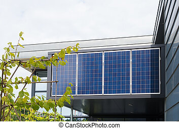 solar panels on office building - solar panels above the...
