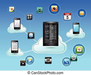 Cloud network concept with database and mobile communication...