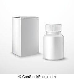 Blank medicine bottle with medical supplements realistic...