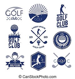 Golf club label - Golf club sport game competition black and...