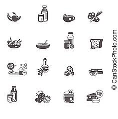 Healthy Eating Black Icons - Healthy eating black icons set...