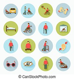 Disabled Icons Set Flat - Disabled blind and deaf people...