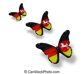 Three  Lower Saxony flag butterflies, isolated on white