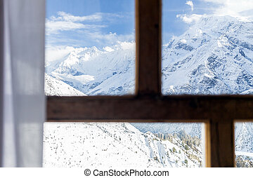 Looking through window at Himalaya Mountains Nepal - Looking...