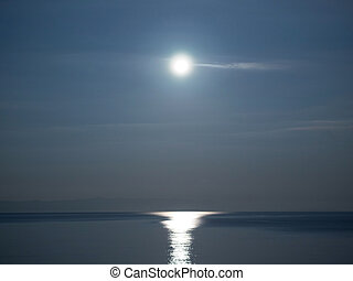 Full moon over sea landscape - Landscape view of full moon...