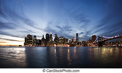 Skyline of New York at sunset