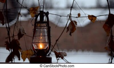 old kerosene lamp outdoor - Old kerosene lamp outdoor in...