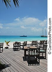 Beautiful beach bar view in Maldives - beautiful photo of a...