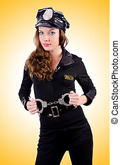 Woman police with handcuffs on white