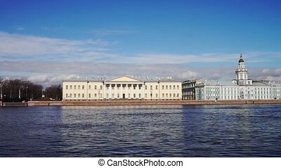 Spring view at Neva river quay, Saint Petersburg