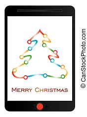 Merry Christmas message on tablet screen