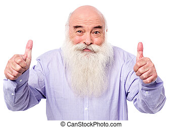 Enjoy your holidays! - Mature man showing thumbs up gesture