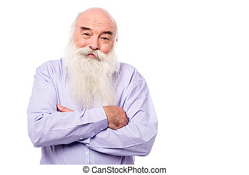 Hoary old man with crossed arms over white - Senior man...