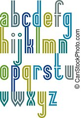 Poster colorful striped font, cartoon binary lower case letters.