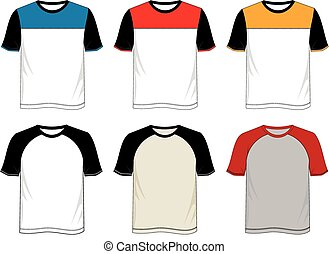 T-shirt template raglan with color black white blue yellow...