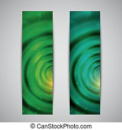set of abstract green glowing banners