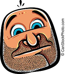 Funny cartoon face with stubble, vector illustration