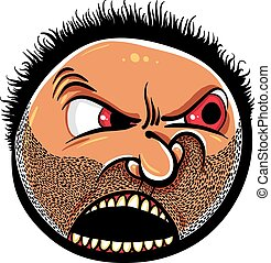 Angry cartoon face with stubble, vector illustration