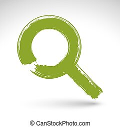 Hand-painted green magnifying glass icon isolated on white backg