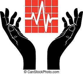 Hand with cardiogram vector symbol.