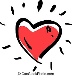 Illustrated red love heart isolated on white background, vector