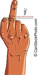 Middle finger hand sign, African ethnicity, detailed vector...