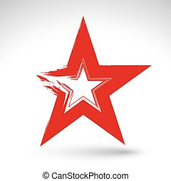 Hand drawn soviet red star icon scanned and vectorized,...