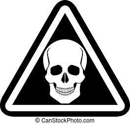 Skull warning sign, vector.