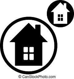 House simple single color icon isolated on white background,...