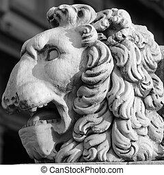 lion head sculpture - detail of pedestal of statue Hercules...