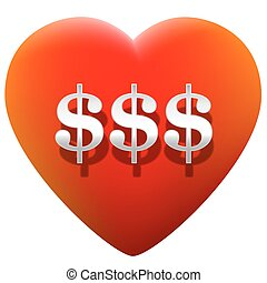 Heart Money - Red glowing heart with three dollar signs on...