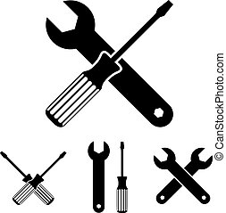 Repair icon set with wrenches and screwdrivers.