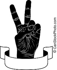 Victory hand sign with ribbon, triumph emblem, detailed black an