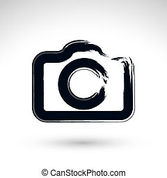 Realistic ink hand drawn vector digital camera icon, simple...