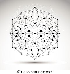 3D origami abstract mesh object, vector abstract design element,