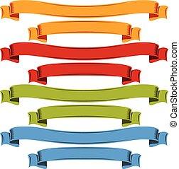 Rainbow shaped ribbons on white background.