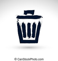 Hand-painted simple vector trash can icon isolated on white back