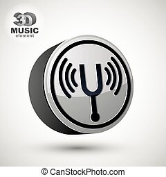 Tuning fork vector icon isolated, 3d vector music theme...