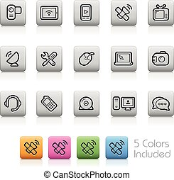 Communication Icons -Outline Button - Each color in a layer....