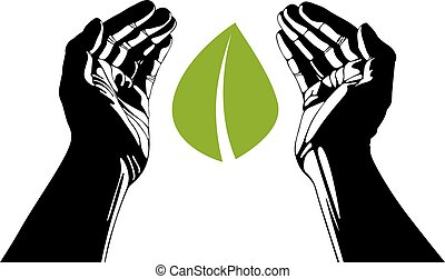 Hands with leaf vector symbol.