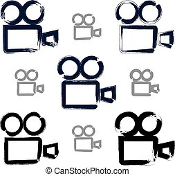 Set of realistic ink hand-drawn vector video camera icons, colle