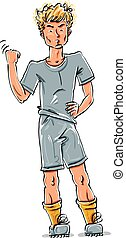 Vector full-length drawing of an angry Caucasian red-haired teen