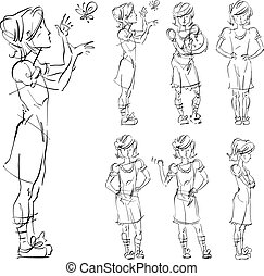 Set of vector full-length hand-drawn Caucasian teens, black and