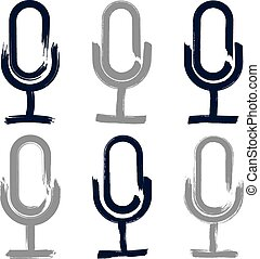 Set of hand-drawn microphone icons, brush drawing multimedia...