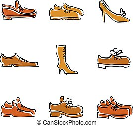 Vector collection of shoes, illustrated footwear.
