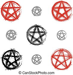 Set of hand drawn pentagram icons scanned and vectorized,...