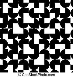 Black and white solid geometric seamless pattern, vector...